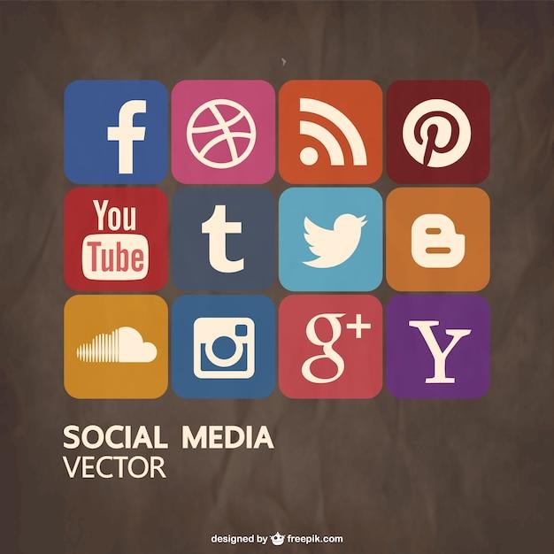 Iconos de redes sociales de colores vector gratuito