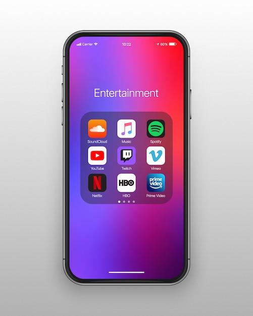 Iconos de redes sociales de entretenimiento de carpeta de teléfono inteligente Vector Premium