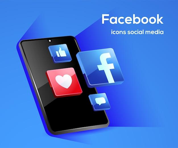 Iconos de redes sociales de facebook con símbolo de teléfono inteligente Vector Premium