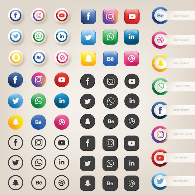 Iconos de redes sociales o logotipos Vector Premium
