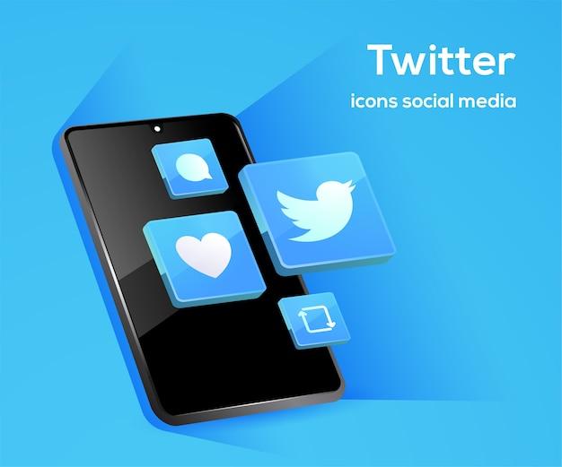 Iconos de redes sociales de twitter con símbolo de teléfono inteligente Vector Premium