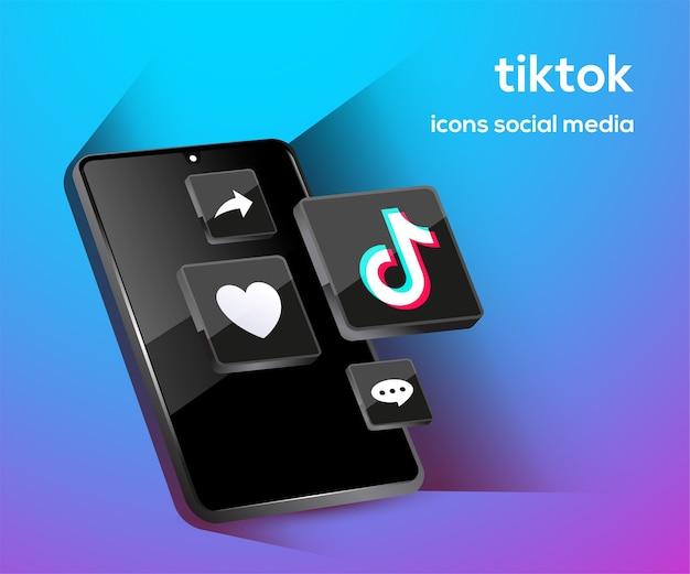 Iconos de redes sociales de youtube con símbolo de teléfono inteligente Vector Premium