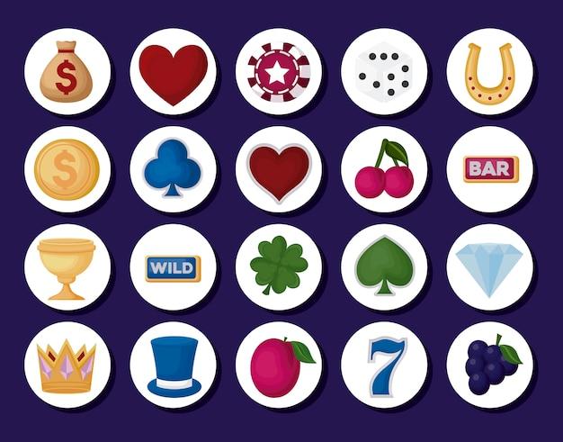 Iconos relacionados con el casino vector gratuito