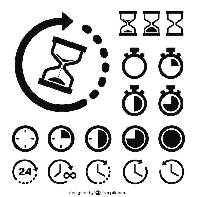 Iconos de relojes y tiempo vector gratuito
