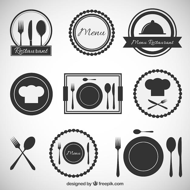 Iconos del restaurante Vector Premium