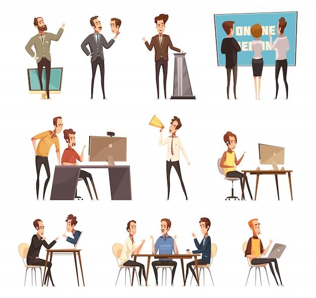 Los iconos de la reunión en línea fijaron con el ordenador portátil y la historieta de la gente aislados vector gratuito