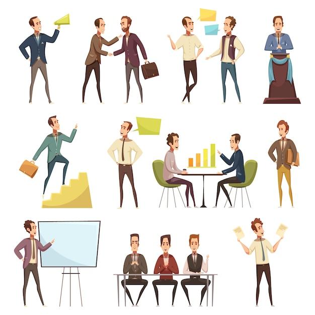 Los iconos de la reunión de negocios fijados con la planificación y el trabajo los símbolos de dibujos animados aislados ilustración vectorial vector gratuito