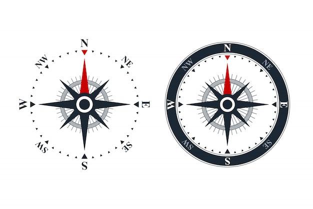 Iconos de rosa de los vientos Vector Premium