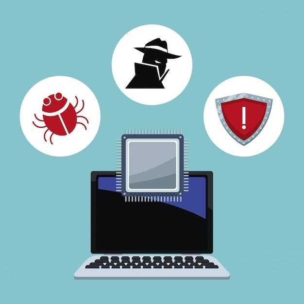 Iconos de seguridad cibernética Vector Premium