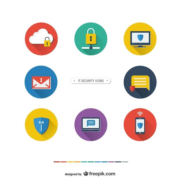 Iconos de seguridad informática vector gratuito