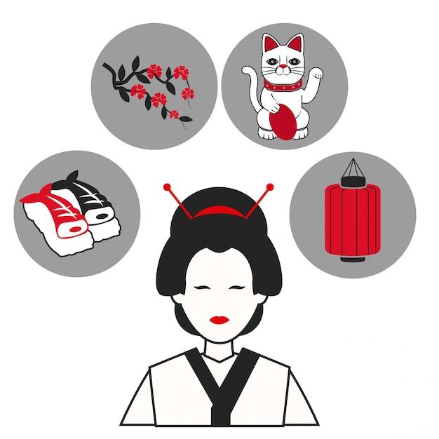 7625cb124 Iconos de símbolo de ropa tradicional japonesa de mujer | Descargar ...