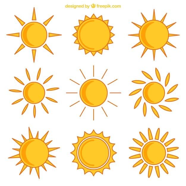 Iconos de sol amarillos vector gratuito
