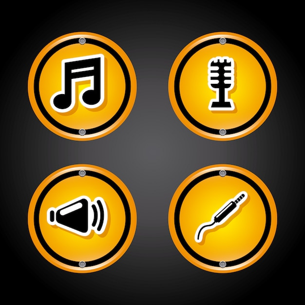 Iconos de sonido sobre gris vector gratuito