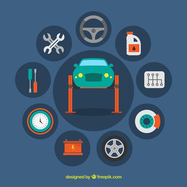 Iconos de taller mecánico vector gratuito