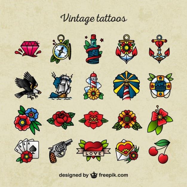 Iconos De Tatuajes Old School Descargar Vectores Premium