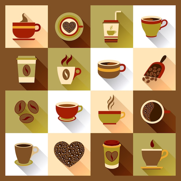 Iconos de la taza de café vector gratuito