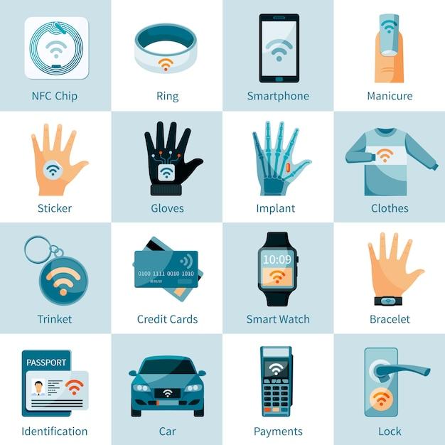 Iconos de tecnología nfc establecidos estilo plano Vector Premium