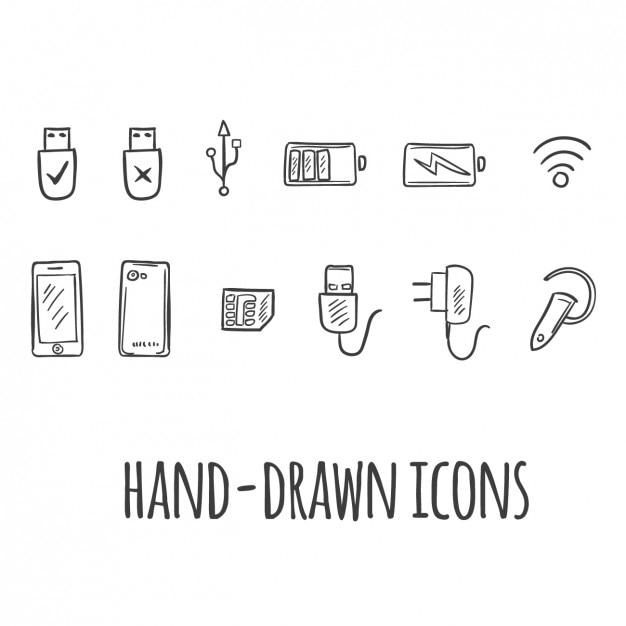 Iconos tecnológicos vector gratuito