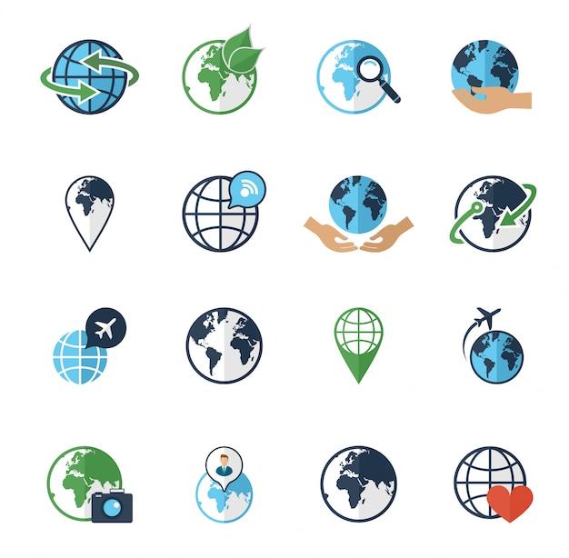 Iconos de la tierra del globo fijados planos Vector Premium