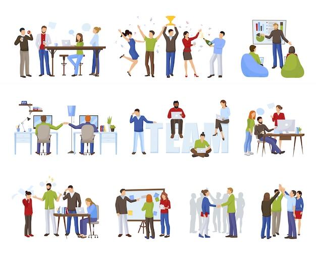Los iconos del trabajo en equipo del negocio fijaron con el ejemplo aislado plano del vector de los símbolos del coworking vector gratuito