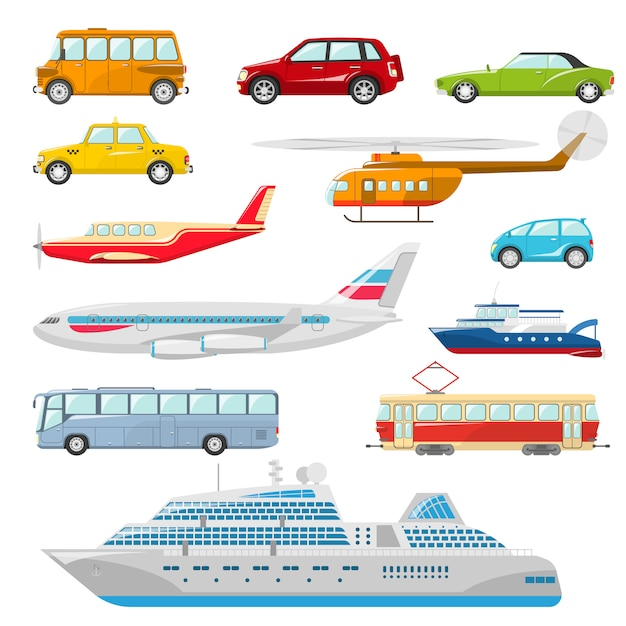 Iconos de transporte plano vector gratuito