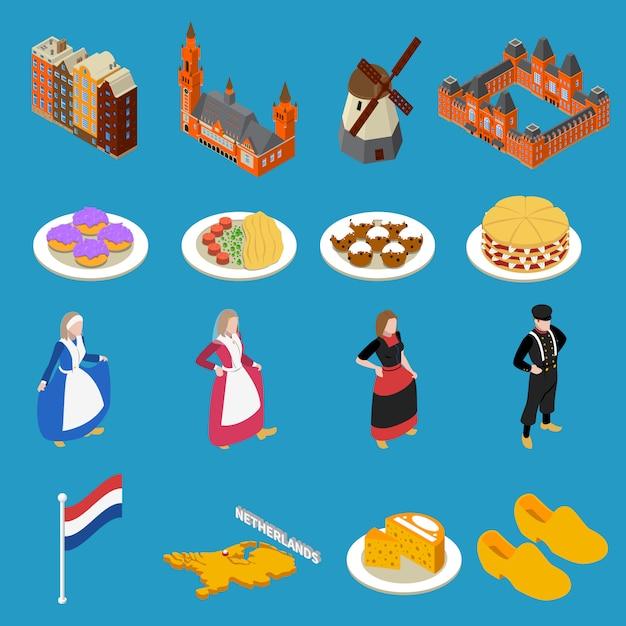 Iconos turísticos de holanda vector gratuito