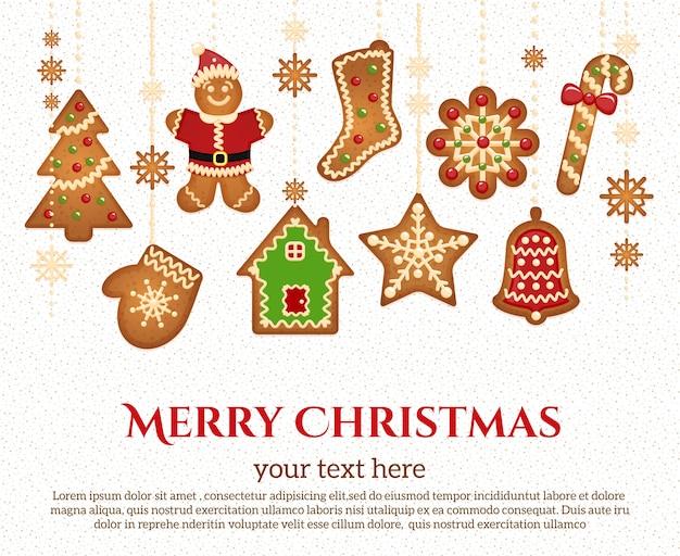 Iconos de vacaciones de navidad y guirnalda de elementos con texto de felicitación vector gratuito