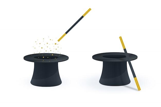 Iconos de varita mágica y sombrero Vector Premium