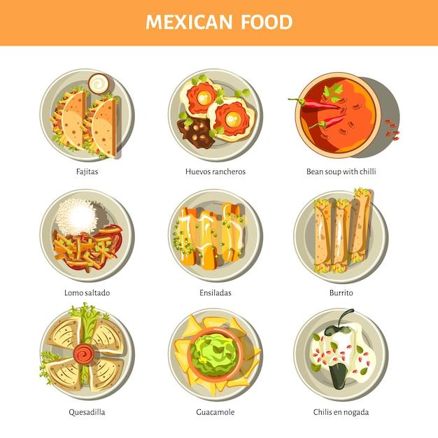 Iconos de vector de cocina de comida mexicana para el menú del restaurante Vector Premium