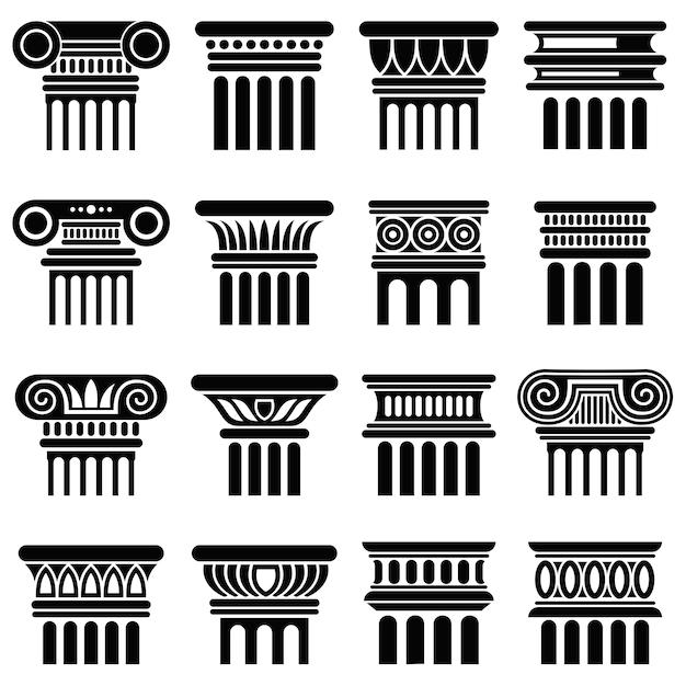 Iconos de vector de columna de arquitectura de roma antigua Vector Premium