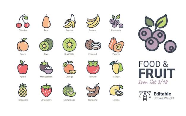 Iconos de vector de comida y fruta Vector Premium