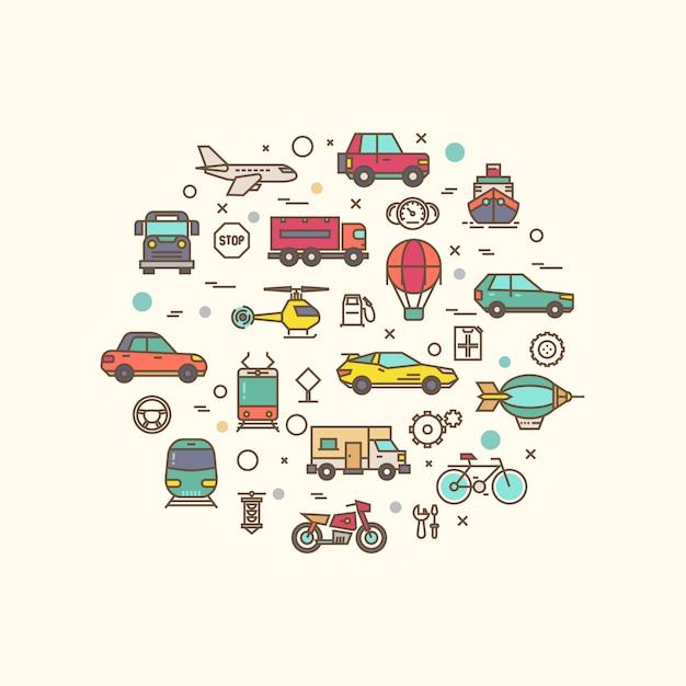 Iconos de vehículos y transporte en diseño de círculo. transporte con icono de estilo de línea delgada Vector Premium