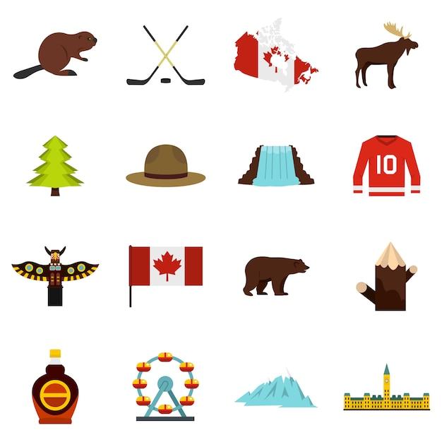 Iconos de viaje de canadá en estilo plano Vector Premium