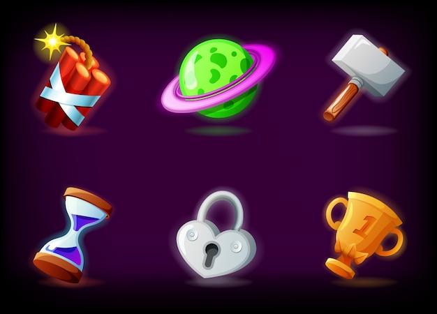 Iconos de videojuegos gui con fondo oscuro. paquete de ilustración de aplicaciones de juegos móviles en estilo de dibujos animados Vector Premium