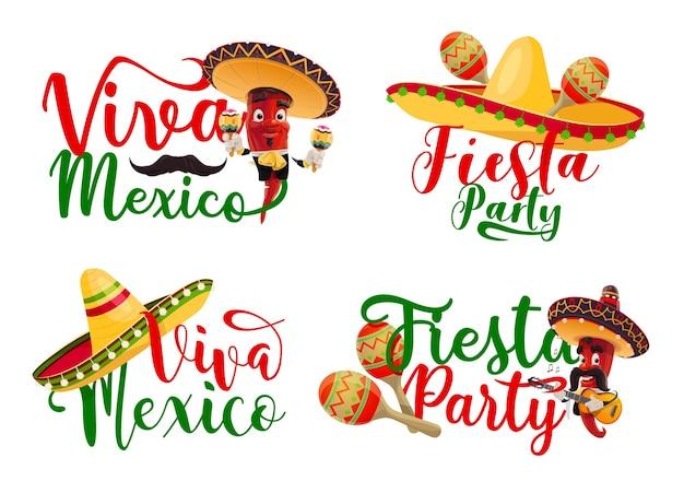 Iconos de viva méxico con personajes de mariachi de chiles de fiesta mexicana. Vector Premium
