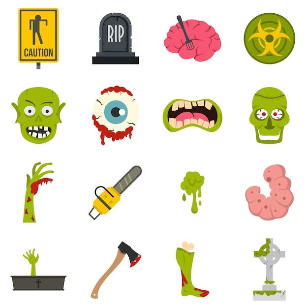 Iconos de zombies en estilo plano Vector Premium