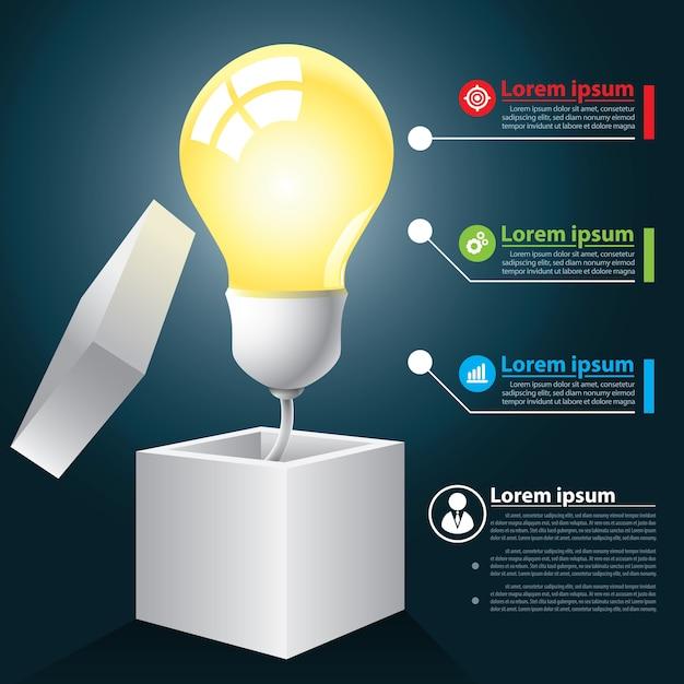 Idea abierta infografía Vector Premium
