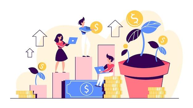 Idea de banner de web de riqueza de inversión y finanzas. Vector Premium
