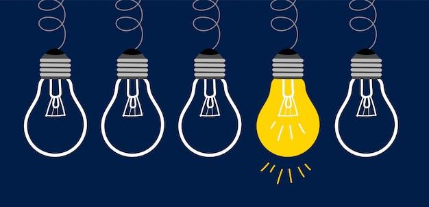 Idea bombillas Vector Premium
