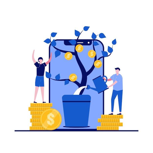 Idea de concepto de ingresos con carácter planta de riego de dinero Vector Premium