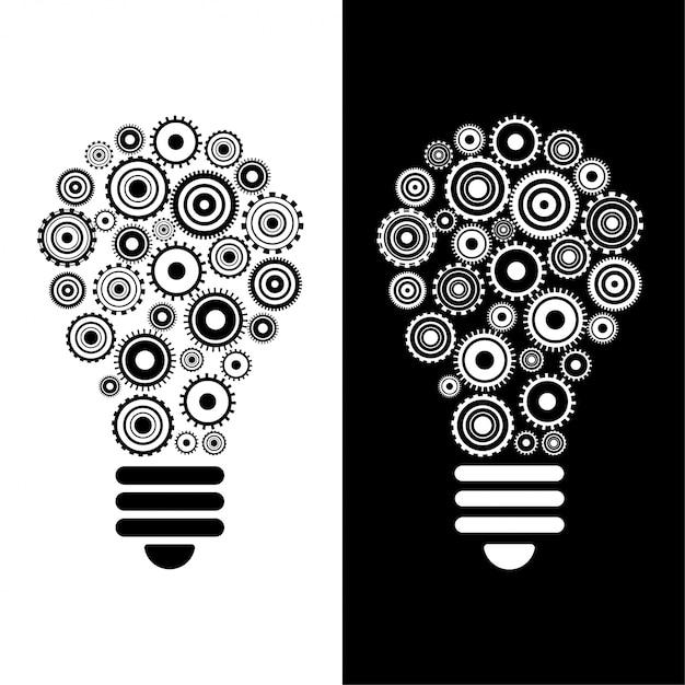 Idea e innovación bombilla y engranajes vector gratuito