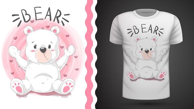 Idea de oso lindo para camiseta estampada. Vector Premium