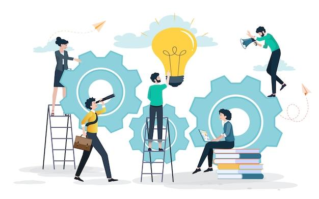 Ideas creativas que conducen al éxito Vector Premium