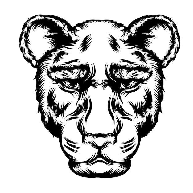 Las ideas del tatuaje para la ilustración del leopardo de una sola cabeza. Vector Premium