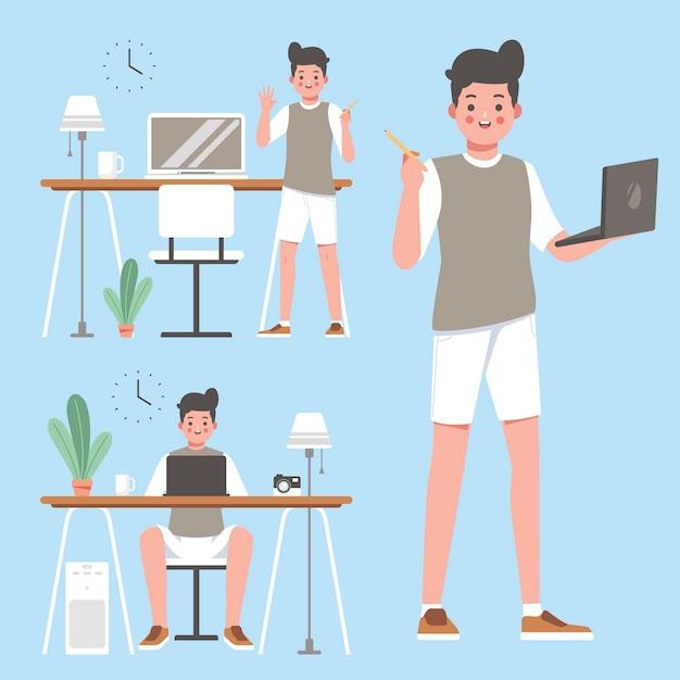 Ideas de trabajo del diseñador en su computadora portátil vector gratuito