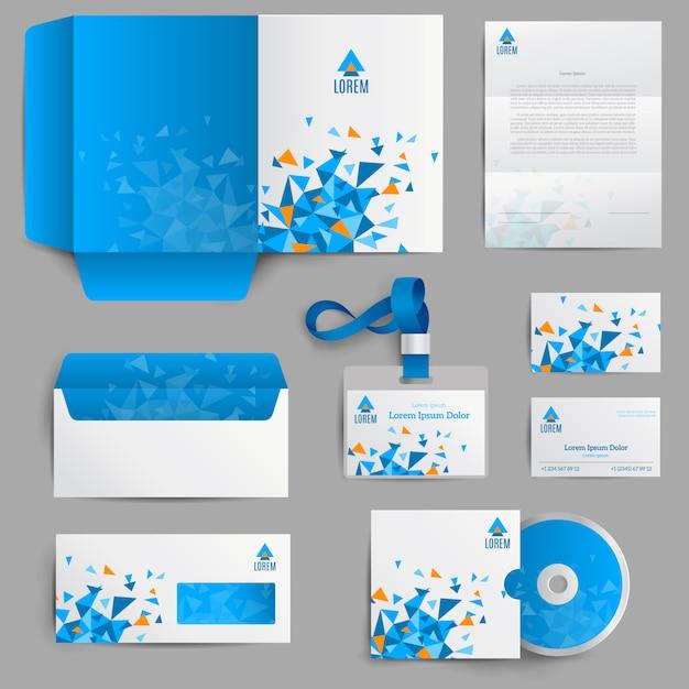 Identidad corporativa azul vector gratuito