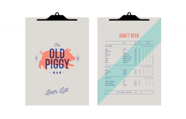 Identidad de marca establecida para beer bar, pub. menú del portapapeles Vector Premium