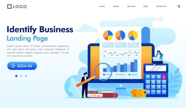 Identificar el vector de ilustración del sitio web de la página de destino de negocios Vector Premium