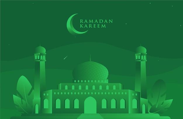 Ied mubarrak / ramadan kareem green mosque Vector Premium