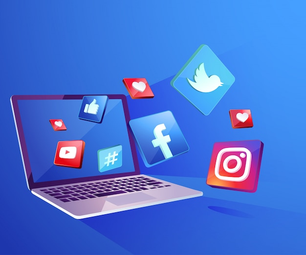 Iicon de redes sociales 3d con dekstop para computadora portátil Vector Premium